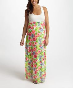 This PinkBlush Green Tropical Racerback Maternity Maxi Dress - Women is perfect! #zulilyfinds
