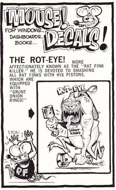 The Mouse pokes a little fun at The Rat Fink in this decal ad, 1964.