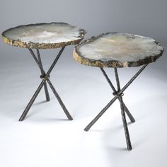 Attractive Pair Of Large Celadon Green Agate Slices On Giacometti Tripod Tables