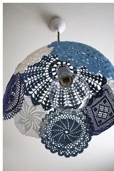 Faça você mesma: uma cúpula de crochê! Faça as toalhinhas de crochê de acordo com o tamanho da cúpula...