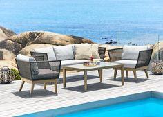 Loungeset ABILDAA FSC 1299 euro hout/staal/touw zw | JYSK