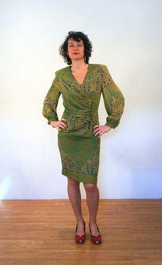 Emilita 80s Albert Nipon Dress Green Silk Dress by MorningGlorious