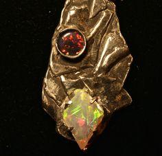Unusual Opal Pendant. Solid White Welo & Australian by AmyKJewels