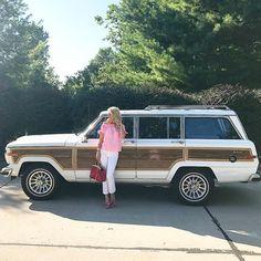 Let's roll woody! #jeep #grandwagoneer #jeepgrandwagoneer #89jeep #woody #valentino #jcrew #louisvuitton #datenight #stlouis #missouri #retro #retrocar #vintage #vintagecar #classic #classiccar #collectable #collectablecars #preppy #preppygirl