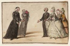 Three Clergymen and Three Ladies in Conversation, Susanna Highmore Duncombe, ca. 1745; TC T04256