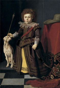Thomas de Keyser - Portrait of a young boy as a hunter standing full length beside a table, 1620's, Sotheby's New York 2006