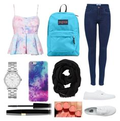 """Outfit for school #4"" by jasmeen-brar on Polyvore featuring Vans, JanSport, Marc by Marc Jacobs, Old Navy and Avon"
