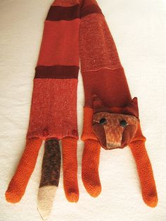 Faux Fox Scarf recycled knits by katkalandcreatures on Etsy, $65.00