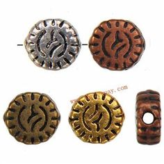 Zinc Alloy Round Flat Beads,Plated,Cadmium And Lead Free,Various Color For Choice,Approx 5*2.5mm,Hole:Approx 1mm,Sold By Bags,No 002013