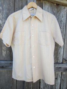 Golden Rockabilly Shirt by Mr California, Men's M // Vintage Straight Bottom Short Sleeve Surfer Shirt Rockabilly Shirts, Almost Always, Preppy, Short Sleeves, Men Casual, California, Shirt Dress, Shorts, Mens Tops