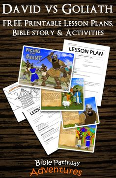 David & Goliath. FREE printable lesson plans, bible story and activities!