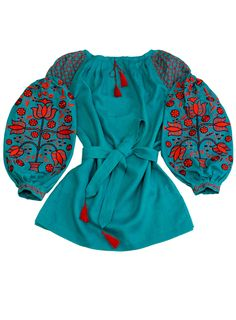 TURQUOISE BLOUSE WITH RED EMBROIDERY