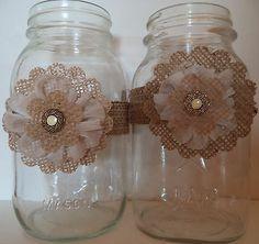 10 Handmade Ivory Cream Burlap Mason Jar Flower Bow Country Wedding Decorations