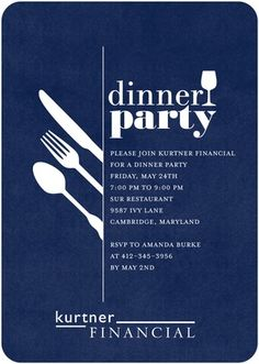 Darling Dinner Party - Corporate Event Invitations - Sarah Hawkins Designs - Baltic - Blue : Front  Like the simple style.