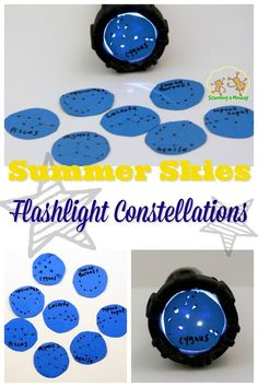 Constellations Discover Summer Skies Flashlight Constellations Want to learn about astronomy but dont have a telescope? You can learn about summer constellations with this simple flashlight constellations activity! Kid Science, Science Activities For Kids, Kindergarten Science, Science Experiments Kids, Teaching Science, Science Projects, Learning Activities, Preschool Activities, Science Education