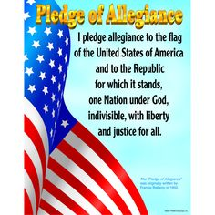 """The Pledge of Allegiance illustrated with an American flag. Back of chart features reproducible activities, subject information, and helpful tips. 17"""" x 22"""" classroom size."""