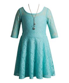 Look what I found on #zulily! Turquoise Lace A-Line Dress & Necklace - Girls by Youngland #zulilyfinds