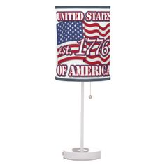 United States Of America est 1776 with USA Flag Lamp   •   This design is available on t-shirts, hats, mugs, buttons, key chains and much more   •   Please check out our others designs at: www.zazzle.com/ZuzusFunHouse*