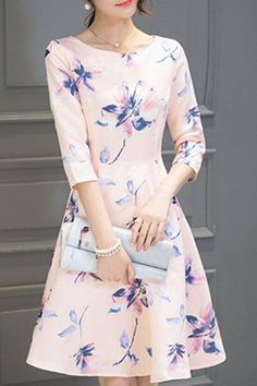 Round Neck Floral Print Dres
