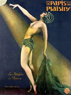 Magnificent Deco showgirl. Paris Plaisirs cover print. 1928