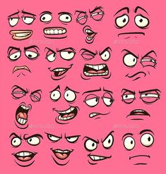 Face Drawing Cartoon faces with different expressions. Vector clip art illustration with simple gradients. Each on a separate layer. Human Face Drawing, Realistic Eye Drawing, Drawing Cartoon Characters, Graffiti Characters, Cartoon Sketches, Character Drawing, Cartoon Art, Female Cartoon, Animation Character