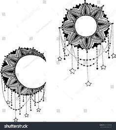 Vector Beautiful Deco Black Moon and Sun Mandala, Patterned Design Element, Ethnic Amulet