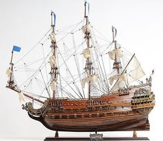 New Model Ship Product DetailsDimensions (inches):27H x 10W x 28LComment:This is a museum-quality Soleil Royal model, FULLY ASSEMBLED replica of the most impressive tall ship ever in the French Navy.