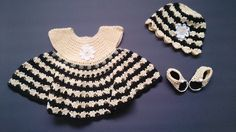 Bumble Bee Dress, Hat and Shoes  - Newborn - 3 mos. by LittleLuvCrochet on Etsy