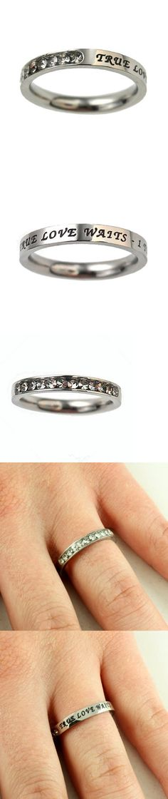 Christian Women's Stainless Steel Absitnence Princess Cut True Love Waits 1 Timothy 4:12 Comfort Fit 3mm Cubic Zirconium Chastity Ring for Girls - Girls Purity Ring - Stackable - This petite stainless steel band for girls has 12 clear cubic zirconium stones covering 1/3 of the face while remaining 2/3 reveal engraved and black filled scripture True Love Waits - 1 Timothy 4:12... - Stacking - Jewelry -
