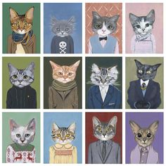 Cats In Clothes   by Heather Mattoon  The black cat in the suit reminds me of my cat, and i think he is classy enough to wear a suit lol.