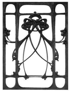 Hector Guimard (1867-1942) - Door or Window Grill. Cast Iron. Circa 1900.