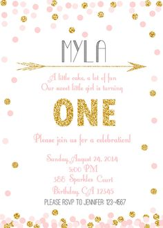 Pink Mint Gold Glitter Sprinkle Confetti Invitation by BelvaJune