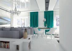 Jadalnia w mieszkaniu w Szczecinie, Pogodno 2018 – REMA DESIGN Dining Table, Curtains, Furniture, Design, Home Decor, Blinds, Decoration Home, Room Decor, Dinner Table