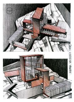 Sketches of a Japanese Artist& Home during Architecture Class. Architecture 101, Architecture Sketchbook, Japanese Architecture, Architecture Presentation Board, Building Sketch, House Sketch, Famous Architects, Layout, Photos