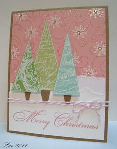 LOVE the colors we were given this month to play with!  Hope you can see the glittered swirls and snowbanks......  supplies: CL459 Merry Christmas Trees CG119 Flourish Background CL357 Holiday Dolls (snowflake) carnation, pool, grass layering paper lime cardstock Soft Blossom ink