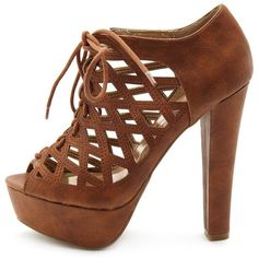 Caged Leatherette Lace-Up Heel ($21) ❤ liked on Polyvore featuring shoes, pumps, heels, boots, zapatos, high heels, brown, peep-toe shoes, brown high heel shoes and brown shoes
