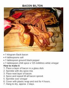 Bacon Biltong Sausage Recipes, Meat Recipes, Cooking Recipes, Yummy Recipes, Recipies, Chilli Spice, Biltong, South African Recipes, Glass Dishes