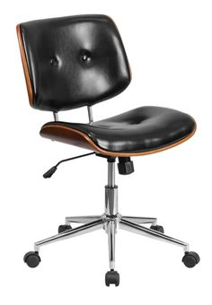 Ronin Ergonomic Wood Swivel Mid-Back Leather Desk Chair