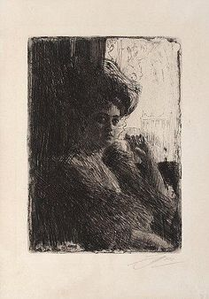 """Artwork by Anders Zorn, """"Betty Nansen"""", Made of Etching 1905 Life Drawing, Figure Drawing, Art Nouveau, Etching Prints, Vintage Artwork, Gravure, Portrait Art, Portraits, Painting Inspiration"""