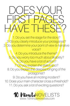 Creative Writing 482940760030938294 - Eleven Requirements For The First Pages of Your Bestseller by Katharine Grubb, 10 Minute Novelist Source by blandinelullaby