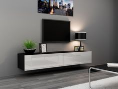 Minimalist Living Room Designs Ideas With Seattle TV Stand 180 – TV cabinet with High Gloss fronts – Hanging TV console for up to TVs (White & Black) – This modern straight-lined floating TV console offers unique combination of Matte and High Gloss fin Floating Tv Stand Ikea, Floating Tv Console, Floating Shelves, Modern Tv Cabinet, Modern Tv Wall Units, Modern Wall, Modern Living, Console Tv, Center Console