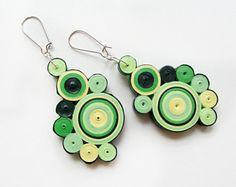 Del verde orecchini, orecchini geometrici verde, estate orecchini, Paper Quilling Paper Quilled, monili, orecchini di dichiarazione