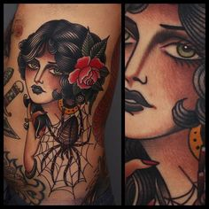 Clean And Classic Traditional Tattoos By Tony Nilsson - Girl and Spider Tattoo by Tony Nilsson traditionalgirl traditional classictattoos TonyNilsson - Traditional Tattoo Woman Face, Traditional Gypsy Tattoos, Traditional Tattoo Flash, Pin Up Tattoos, Head Tattoos, Body Art Tattoos, Sleeve Tattoos, Xoil Tattoos, Arabic Tattoos