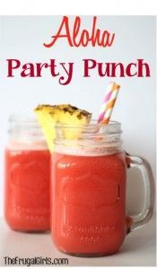 Aloha Party Punch Recipe - pineapple juice, 7 cups fruit punch, 1 liter ginger ale, approx orange sherbet *find some alcohol to substitute. Or just add* Cocktails, Non Alcoholic Drinks, Party Drinks, Fun Drinks, Yummy Drinks, Yummy Food, Delicious Recipes, Drinks Alcohol, Alcohol Recipes