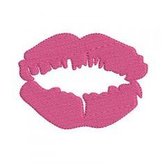 Motif de broderie machine empreinte de rouge à lèvres sur une bouche.