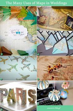 Vintage maps as wedding decorations and more