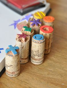 Cork Stamps (soak corks in hot water for 10 minutes before cutting them for crafts--they won't crumble) - perfect craft idea! Especially for Sonoma County!