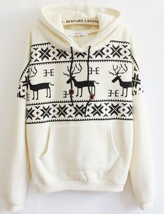 Beige Long Sleeve Deers Print Pocket Front Hoodie by BernardLafond, $32.65