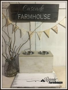 Learn how to make your own vintage looking pet feeding station in one afternoon. Includes step by step woodworking instructions along with paint finishing techniques. Chalk Spray Paint, White Chalk Paint, Dog Feeding Station, Oldest Whiskey, Antique Wax, Dark Wax, Vintage Dog, Some Pictures, Wooden Boxes