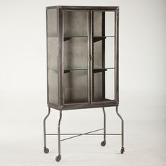 Vintage Reasonable Cabinet Made Of Glass Glass Shelves Mid Century